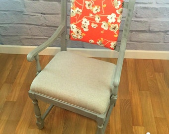 Wooden Side Accent Dining Vintage Antique Armchair Upholstered Chair Floral Coral Linen Gray