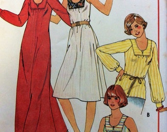 1970s uncut vintage sewing pattern McCalls 5518 Size small, bust 32.5 to bust 34, 70s boho retro hippie dress, maxi and top with square yoke