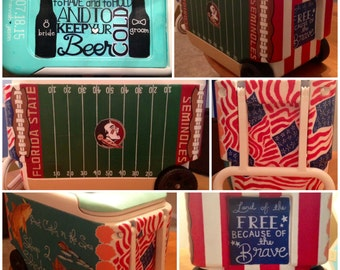 Large Hand-Painted Customized Cooler