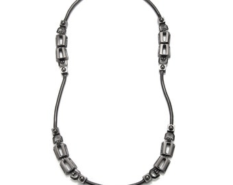 Unique Rectangle Chain Link Necklace with Snake Chain Detail