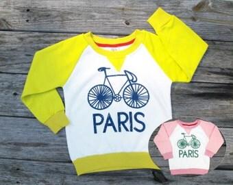 Girls Boys Paris Vintage Bicycle Sweatshirt, Modern Winter Clothes, Bike Shirt, Paris Shirt, Paris Clothing, Bicycle Sweater, Brother Sister
