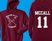 Teen Wolf Hoodie, Beacon Hills Lacrosse Hoodie, McCall 11, Teen Wolf Hooded Sweatshirt Size S - 4XL - Lahey, Stilinski, Hale, Available