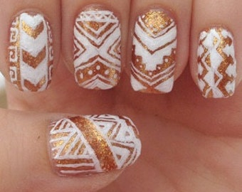 Gold and White Tribal Nails