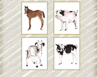 "Farm animal Prints: ""NURSERY PRINTS"" Kids room Prints Nursery wall art Watercolor Baby Animal Prints Baby room decor Farm animals Set of 4"