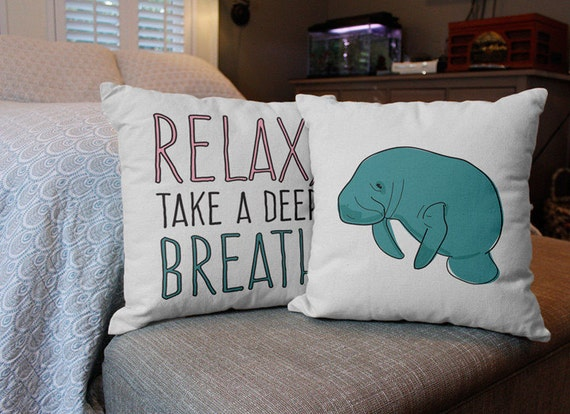 Relax Manatee 2pc Throw Pillow Cover/Cushion Set by MakeInUSA