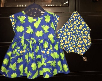 Baby Dress / Baby Dress and Bloomers / Frogs / Size 9-12 Months