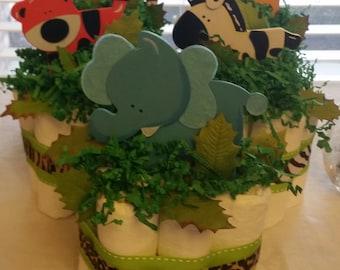 Mini Diaper Cakes -Set of 4 / Baby Diaper Cakes / Centerpiece