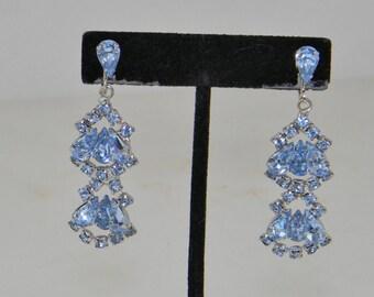 Vintage Dangle Screw Earrings in Blue Crystal Pear Rhinestones Rhodium Plated