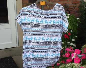 fair isle knit nightgown, sleepshirt with or without velcro at the shoulders for easy access after mastectomy, breastfeeding