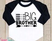 Big Brother Shirt Tribal Arrow Shirt Raglan 3/4th Sleeve Shirt Funny Toddler Youth Shirt