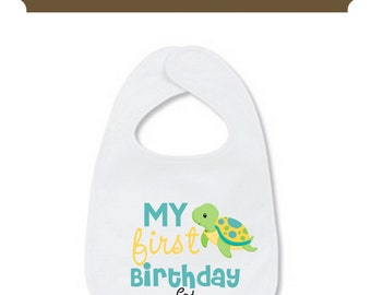 My First Birthday Bib My First Bib Turtle Personalized with Name Baby