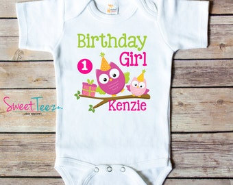 First Birthday Shirt Owl Pink Green Personalized Age Shirt Birthday Girl