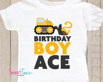 Construction Birthday Shirt Yellow Truck Personalized Age Boy Shirt Truck Digger Toddler