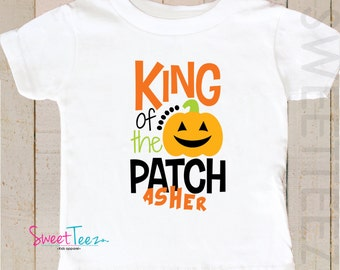 Pumpkin Patch Shirt King of The Patch Shirt Baby Boy Bodysuit Personalized with Name Toddler Shirt