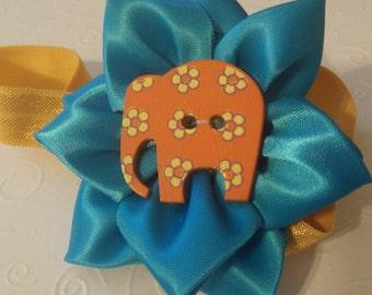 Orange Elephant Blue Satin Bow