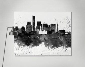 Boston canvas print, Boston watercolor skyline canvas, Art Print, Art, Canvas Boston black & white print, Home decor Wall art ArtPrintCanvas