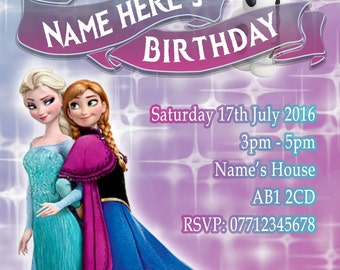 Personalised Frozen Party Invitations and Matching Printed Envelopes x 10