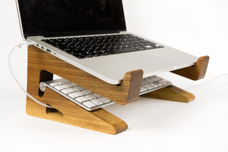 Portable wood laptop stand wooden riser macbook