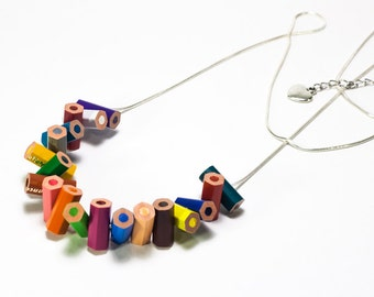 """""""Bee Woods"""" necklace made with colored pencils"""
