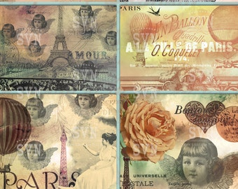 Paris Angels - 6 different cards - Digital Collage Sheet