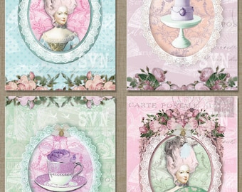 Tea Party Marie Antoinette Digital Collage Sheet Download |  For postals, gift tags, scrapbooking, invitations, cards etc...