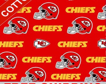 "Kansas City Chiefs Cotton Fabric NFL Style KAN-6315 60"" Wide Free Shipping"