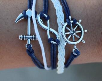 Vintage Braided Anchor Rudder Multilayer Rope Wrap Bracelet