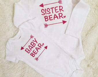 Sibling Set, Sister Bear, Baby Bear, Bodysuit, Girl's Fashion, Shower Gift, Birthday Gift, First Picture