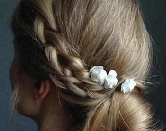 MINI Bohemian Paper Rose Hair Pins. Ivory Bridal Hair Accessories. Set of three.