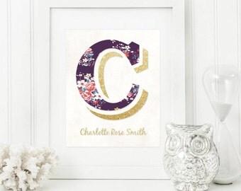 Monogram Nursery - Nursery Decor - Monogram Nursery Art - Monogram Print - Custom Baby Name - Baby Monogram - Custom Nursery Printable