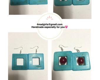 Turquoise Earrings, Turquoise and Silver, Square Turquoise Earrings, Beads, Red Beads, Read and Turquoise