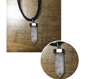 Beautiful Stone and Metal Necklace - White Stone Necklace - Stone Pendant