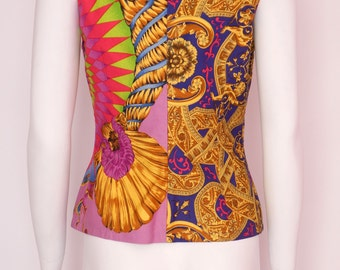 Gianni Versace Couture vintage colorful neon tunic blouse baroque print Rare