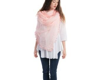 Hand crafted silk & cotton pom pom pink scarf