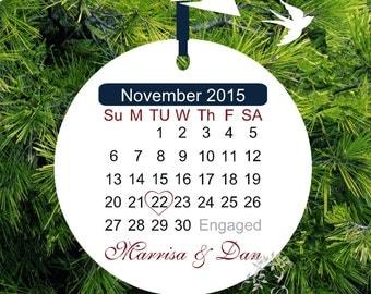 Personalized Engagement Christmas Ornament - Recently Engaged - Wedding Gift - Personalized Porcelain Holiday Ornament - Lovebirdslane