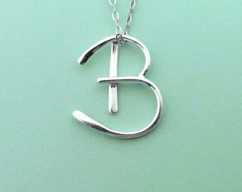 Sterling Silver Letter B Pendant