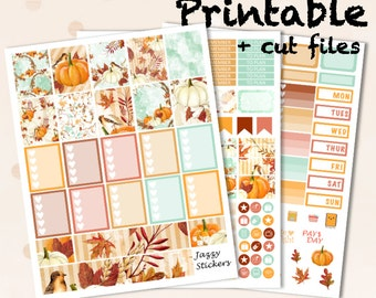 October Fall Kit with Silhouette Cut Files and JPEGs / Printable Planner Stickers / Erin Condren Life Planner