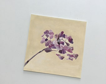 original painting in gouache. purple hydrangea