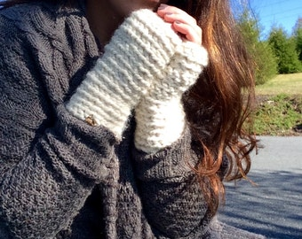 Gold and Cream Fingerless Gloves