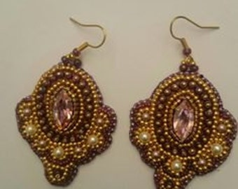 """Embroidered earrings """"Imperial"""""""