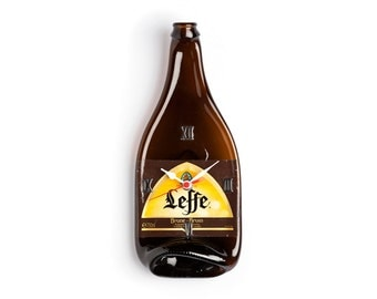 Leffe Beer recycled bottle wall clock - Recycled Leffe beer melted bottle wall clock - Gift for him