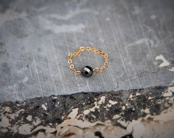 Gold Chain Ring Black Diamond