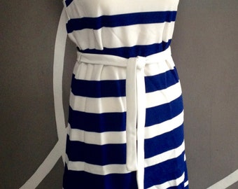 Vintage Striped Dress // Blue & White Dress