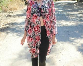 Black Pink Floral Lace Kimono, Long Flowy Boho Kimono Cardigan