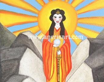 Art Card, postcard, Amaterasu, Goddess of the Sun, solar goddess, japanese goddess, shintoism, pagan greeting card, omikami, spiritual card