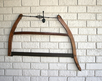Hand Made Bow Saw//Hanging Display//Store Prop//Upcycle Piece//Vintage Hand Made Bow Saw