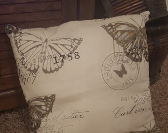 Vintage Look Butterfly Throw Pillow