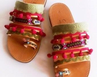 greek sandals, leather sandals, handmade shoes, pom pom garland, girls sandals, bohemian shoes,friendship bracelets,slip on shoes,flat shoes
