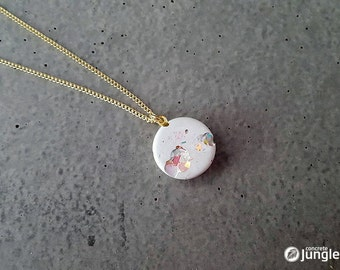 Snow White Necklace made of white concrete with crystals