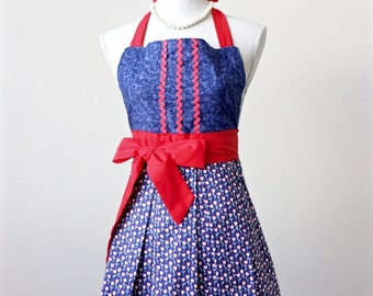 Womens Vintage Inspired Retro Full Apron - Red White and Blue